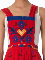 1950s Ethnic Cross stitch Embroidered Red Apron