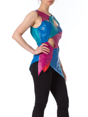 1980s Leather Multicolor Patchwork Cutout Top