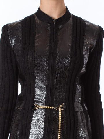 1990S Alaia Black Wool Knit & Snakeskin Coat
