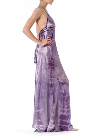 1970S Morphew Collection Silk 1930S Bias Cut Purple Tie Dye Backless Gown