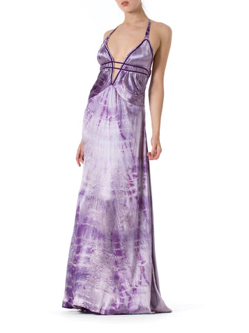 1930s Bias Cut Purple Tie Dye Silk Backless Gown