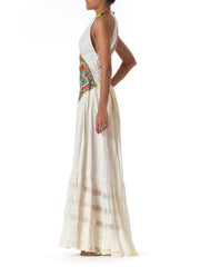 1970s Embroidery and Beads Embellishments Cotton Halter Backless Maxi Dress
