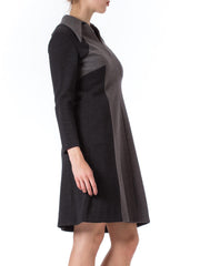 1960s MOD Long Sleeve Gray Wool Dress