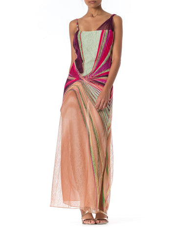 1990s Gianni Versace Couture Backless Sheer Chiffon and Lace Gown