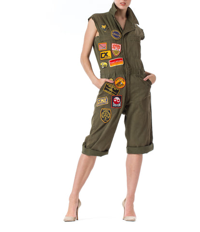 Vintage 1970s Military Sleeveless Jumpsuit  with Patches