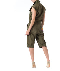 1970S  Olive Green Cotton Men's Military Jumpsuit With Vintage Patches