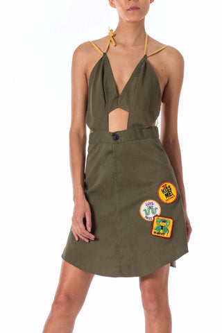 1960s Khaki Military Girl Scout Cookie style Dress with Patches