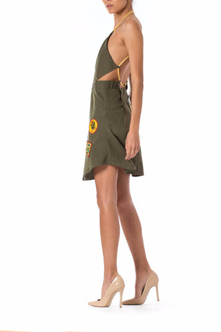 Morphew Collection Olive Green Cotton Cut Out Dress Made From Vietnam War Era Surplus Fabric & Vintage Patches