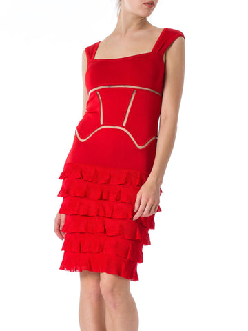2000S JOHN GALLIANO Red Rayon Blend Knit Ruffled Skirt Cocktail Dress
