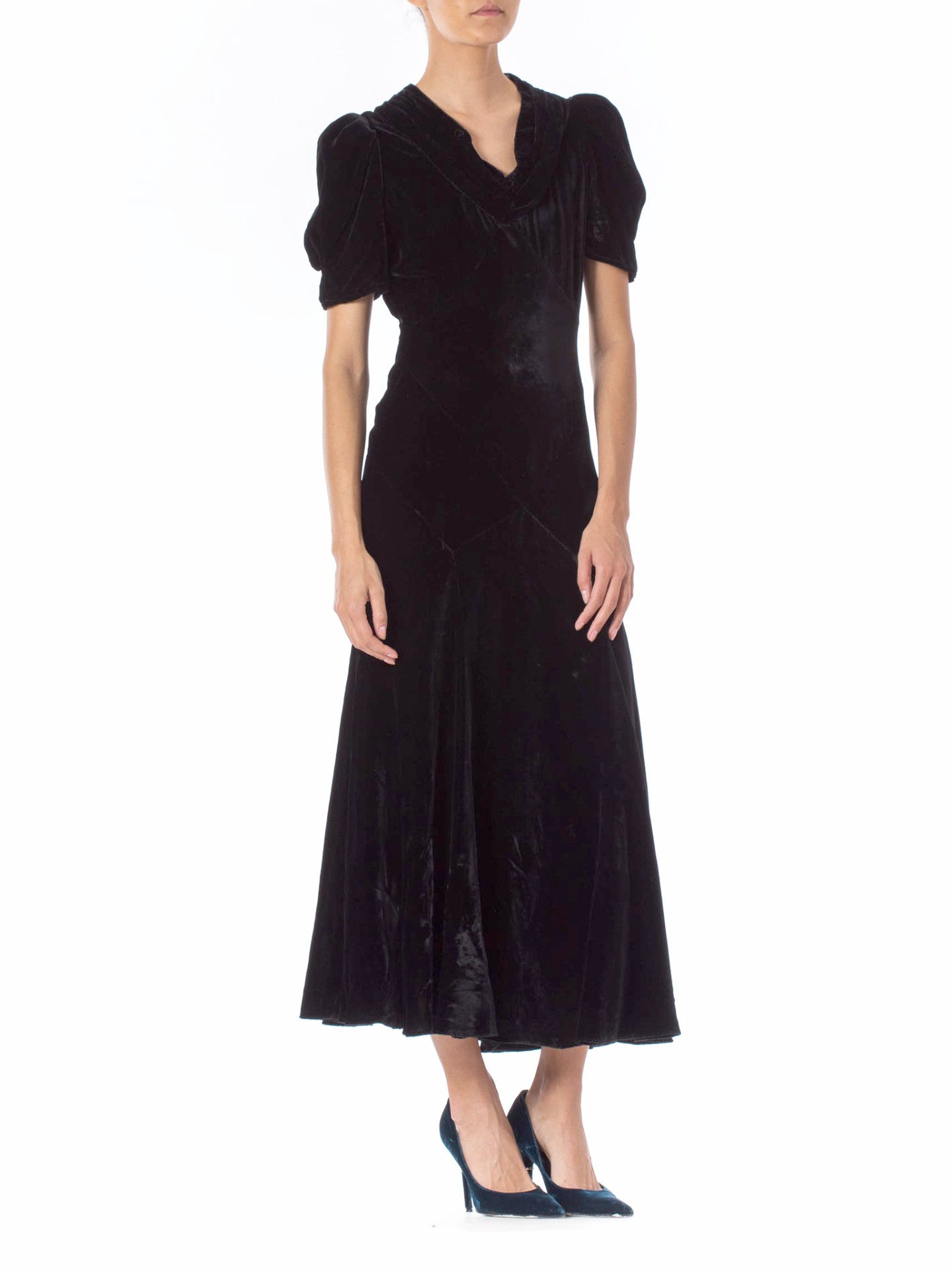1930s Bias Cut Silk Velvet Gown
