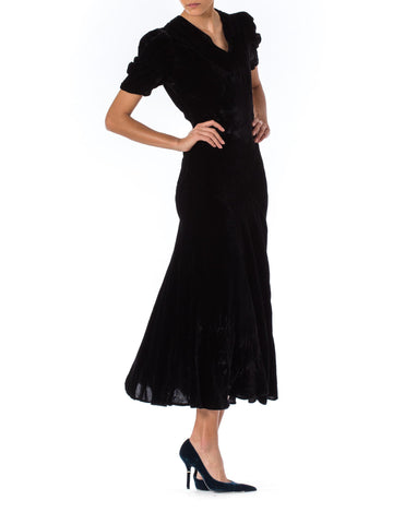 1930S Black Silk Velvet Art-Deco Seamed Bias-Cut Cocktail Dress With Cute Puff Sleeves