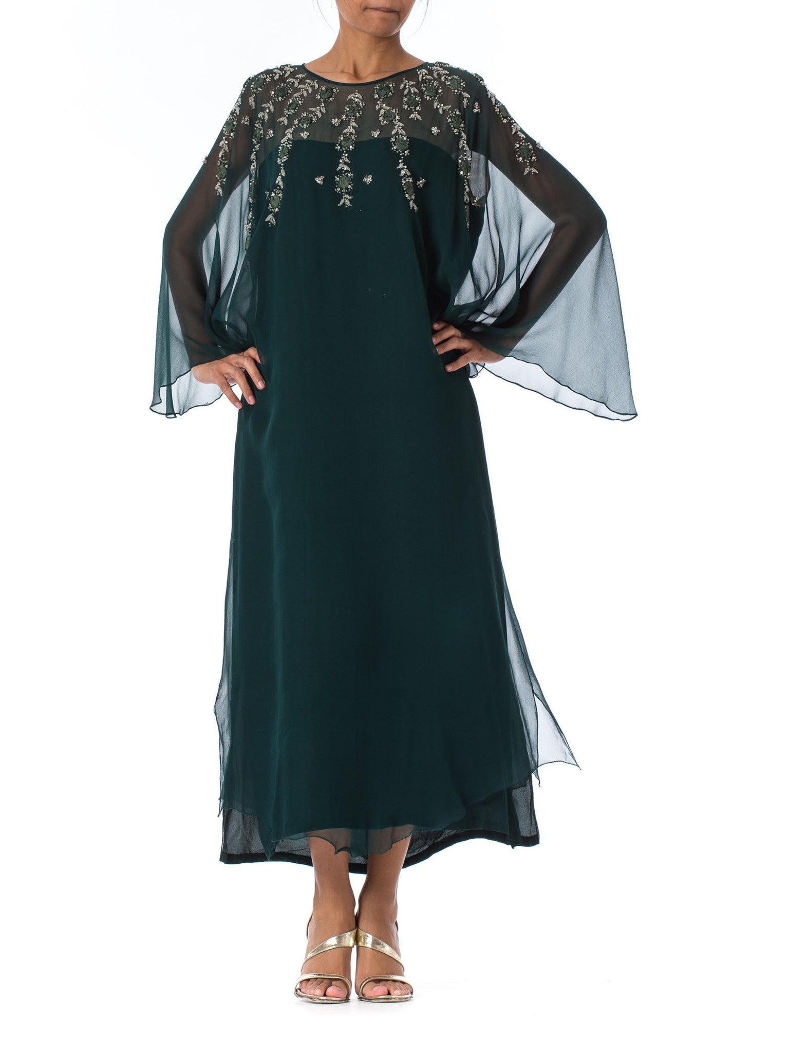 1980s Beaded Embellished Rose Appliqué Green Chiffon Sheer Long Sleeve Gown