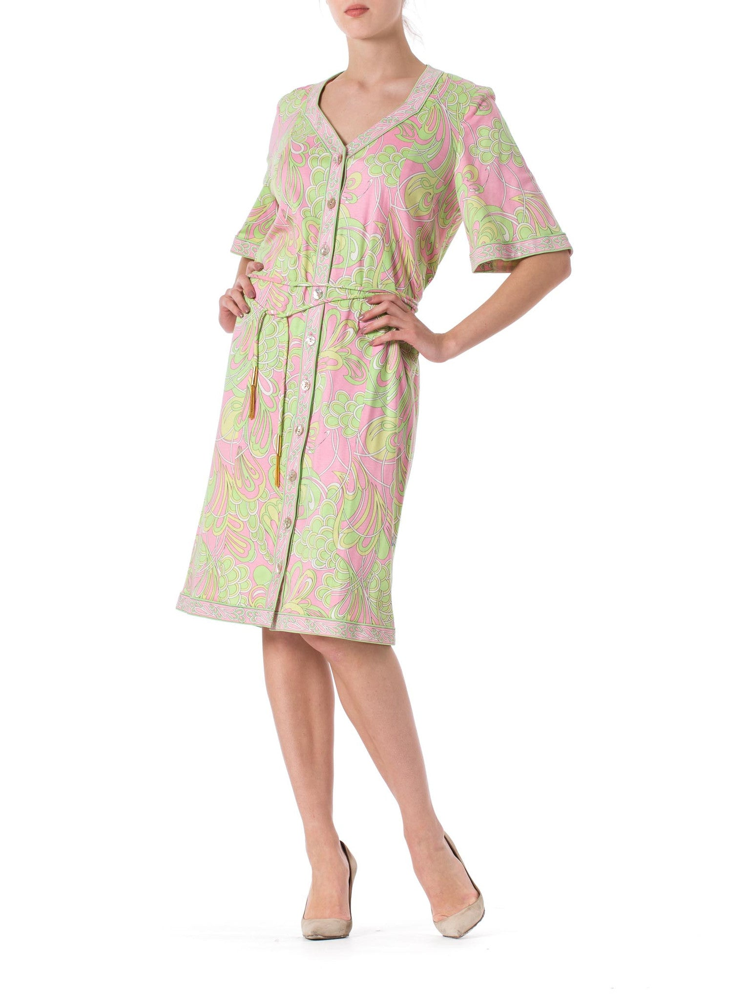 1960s Averardo Bessi Mod Abstract Psychedelic Robe Button Up Dress