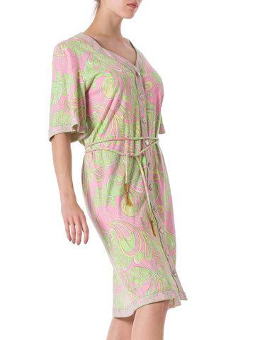 1960S AVERADO BESSI Baby Pink & Green Cotton Jersey Mod Abstract Psychedelic Print House Dress