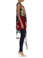 Morphew Collection Multicolor Embroidered Net Lace Boho Vest