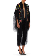 1920s Fringed Embroidered Silk Piano Kimono