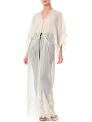 1890s Victorian Hand Embroidered White Cotton Duster Kimono Dress