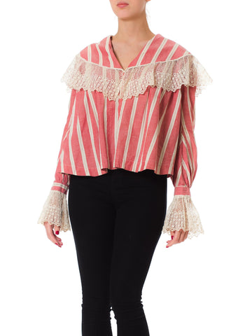 Edwardian Poet Sleeve Striped Cotton Pink Blouse