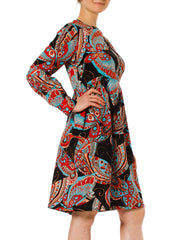 1960s Psychedelic Butterfly Op Print Long Sleeve Midi Dress