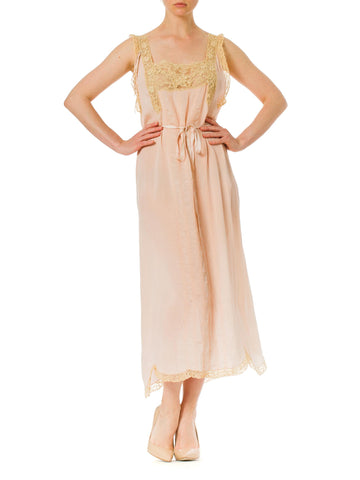 1930S Silk Lace Embroidered And Lingerie Nightgown