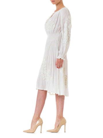 1920S White Rayon Crepe Chiffon Hand Embroidered Long Sleeve Boho Peasant Bridal Dress
