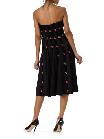1980S Black Embroidered Rose Strapless Rockabilly Tent Dress