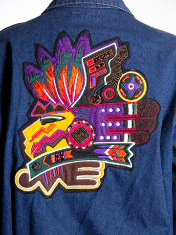 1990S Kansai Yamamoto Embroidered Mayan Patch Denim Jacket