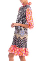 1960S Multicolor Patchwork Boho Printed Polyester Dress With Ruffle Details