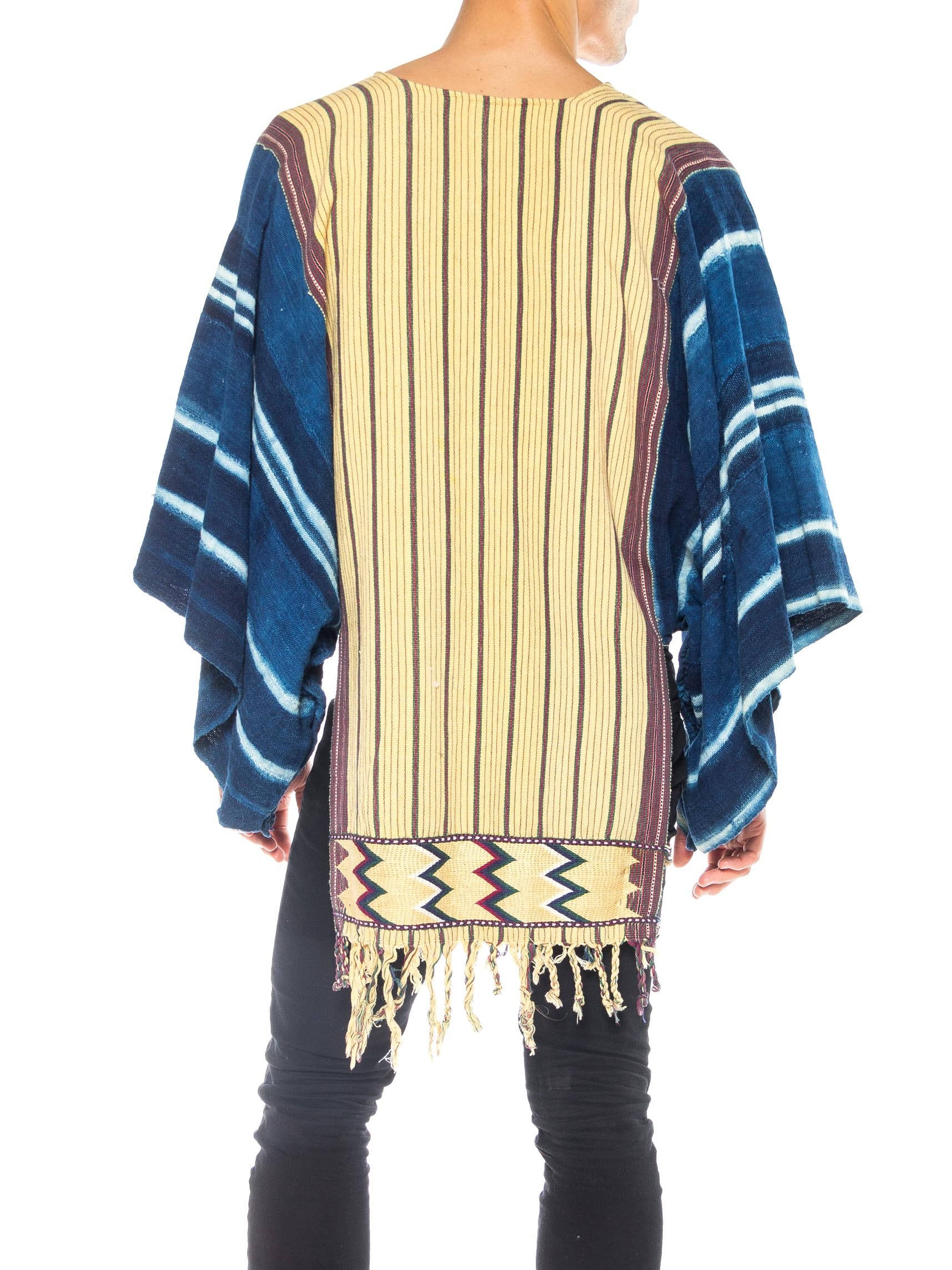 MORPHEW COLLECTION Hand Woven Cotton Unisex Poncho Made From African & Guatemalan Textiles