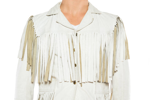 1970S White Leather Men's Fringed Jacket