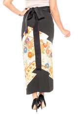 1970S Black Gold Embroidered Wrap Skirt Made From Hand Painted Japanese Kimono Silk