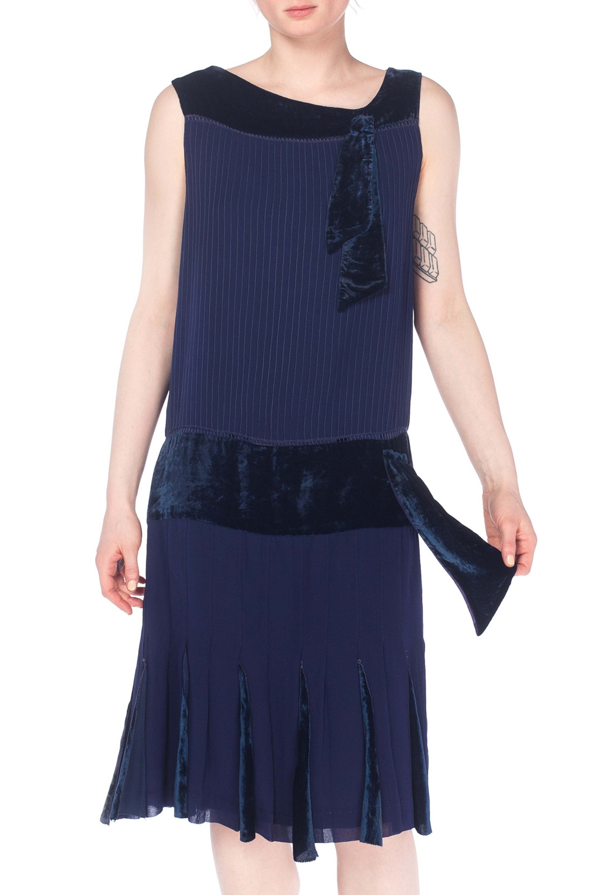 1920S Silk, Velvet Navy Silk And Dress