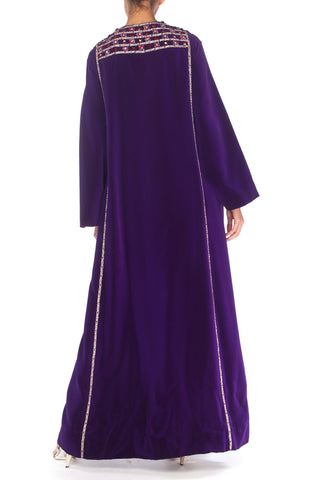 1960S MALCOLM STARR Purple Rayon Velvet Kaftan Gown With Elaborate Crystal Trim & Pockets!