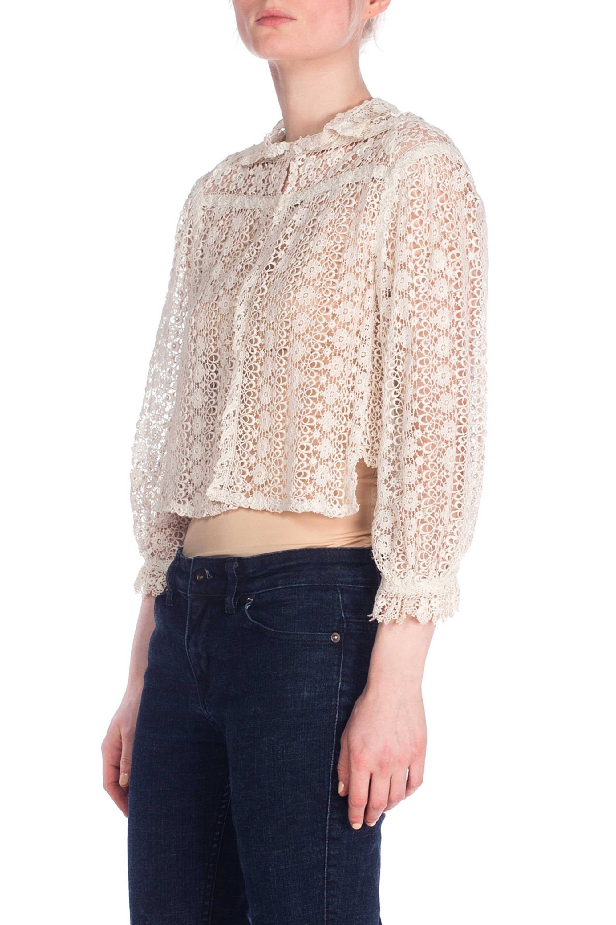 Edwardian Off White Cotton Thick Crochet Style Lace Jacket Top With 3/4 Length Sleeves