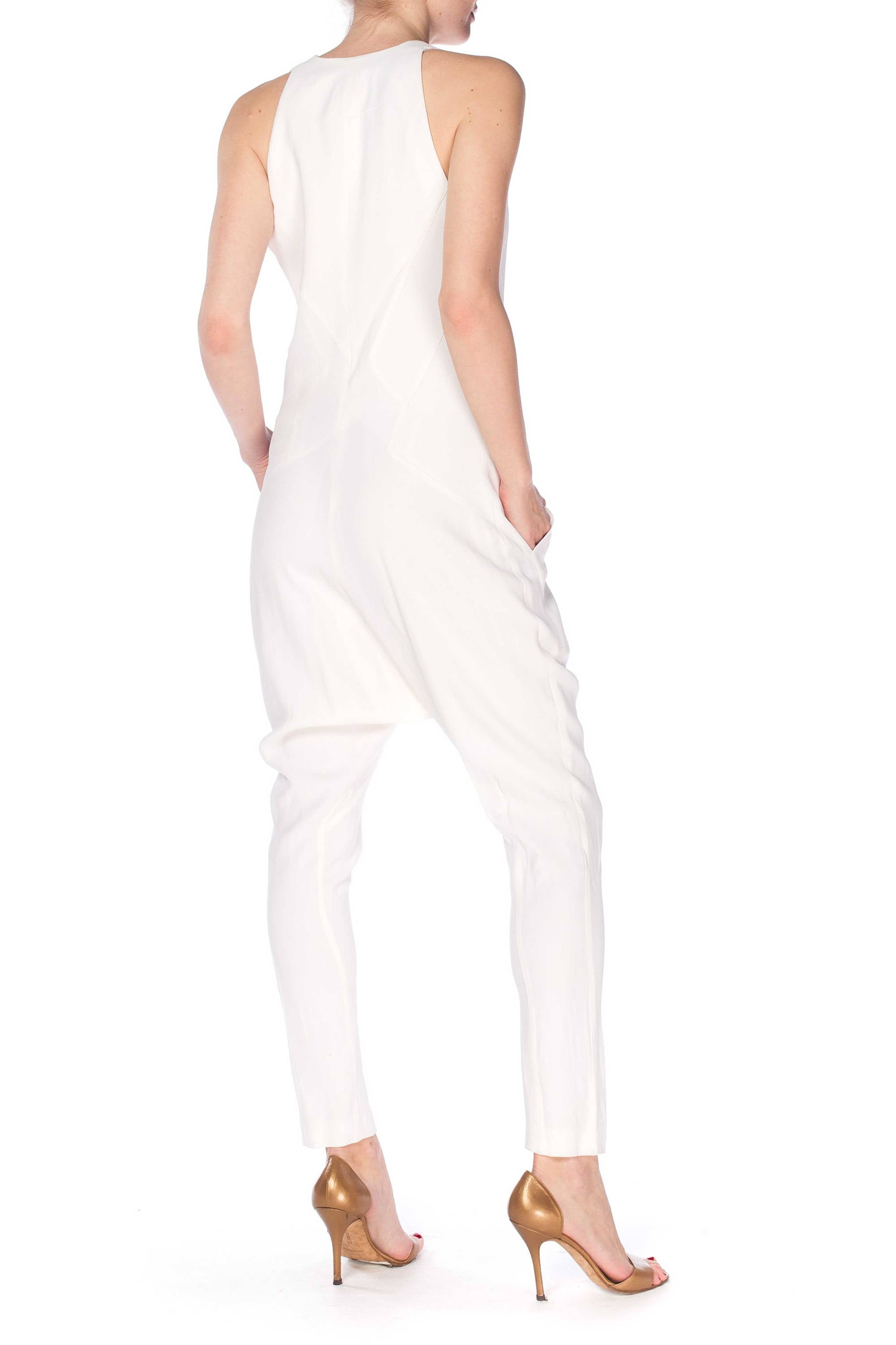 2000S GIVENCHY White Viscose Crepe Low Cut Jumpsuit With Super Cool Seaming & Pockets