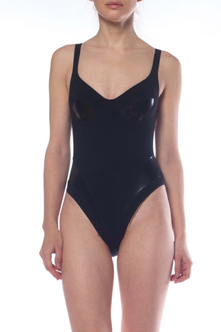 2000S Black Cotton/Lycra Jersey Bodysuit With Patent Highlights