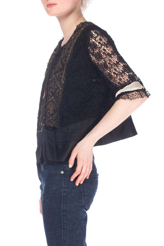 1910S Silk Edwardian Multicolor Metallic And Black Lace Top