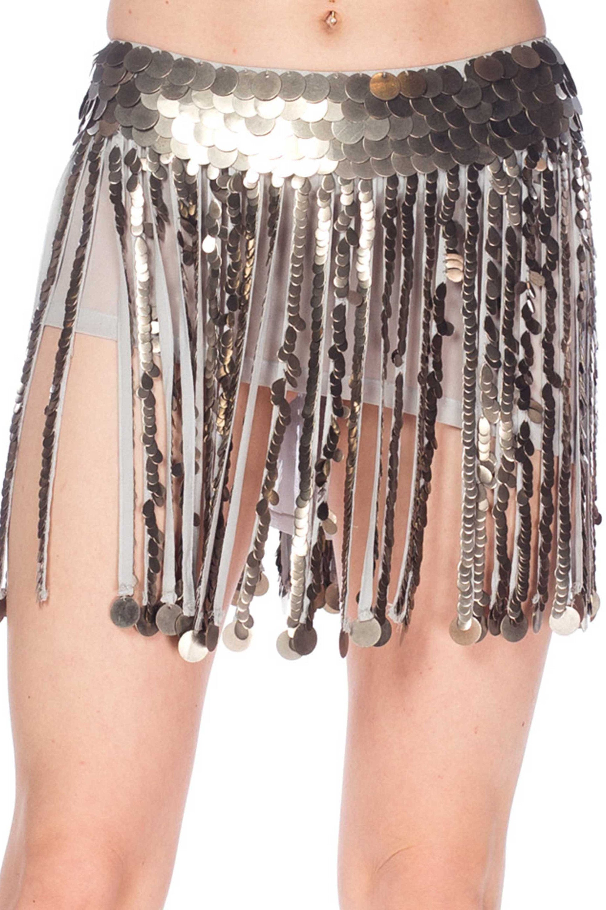 2000S Grey Silk Crepe & Georgette Fringe Mini Skirt Covered In Metal Pailettes