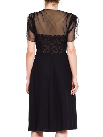 1940S Sheer & Lace Fitted Cocktail Dress