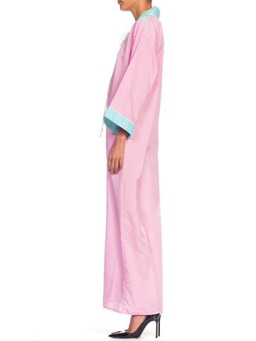 1970S Pink  & Blue Kaftan With Wing Appliqué On Shoulders