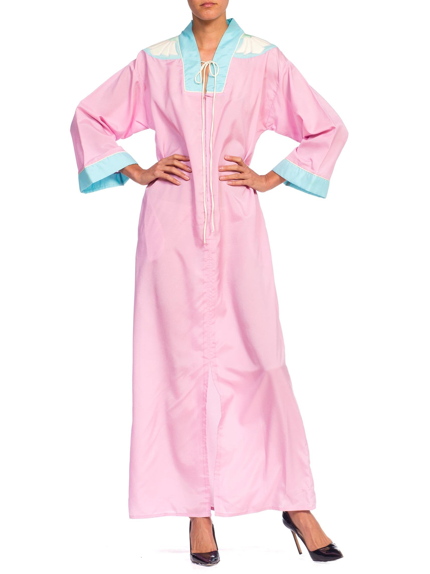1970S BILL TICE Baby Pink & Blue Polyester Kaftan With Wing Appliqué On Shoulders
