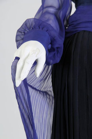 1980S ANDRE LAUG Haute Couture Silk Chiffon Cocktail Dress In Shades Of Blues With Sheer Sleeves