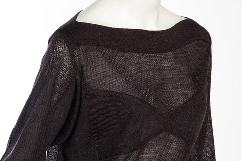 ALAIA Chocolate Brown Mohair, Linen & Viscose Knit Oversized Sheer Faux-Bra Sweater