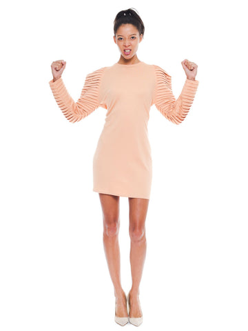 1980S GIANNI VERSACE FOR GENNY Peach Wool Jersey Cozy Modern Long Sleeve Mini Dress