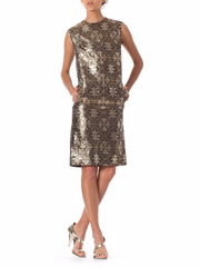 1960s Mod Medallion Tile Jacquard Lamé Sleeveless Dress