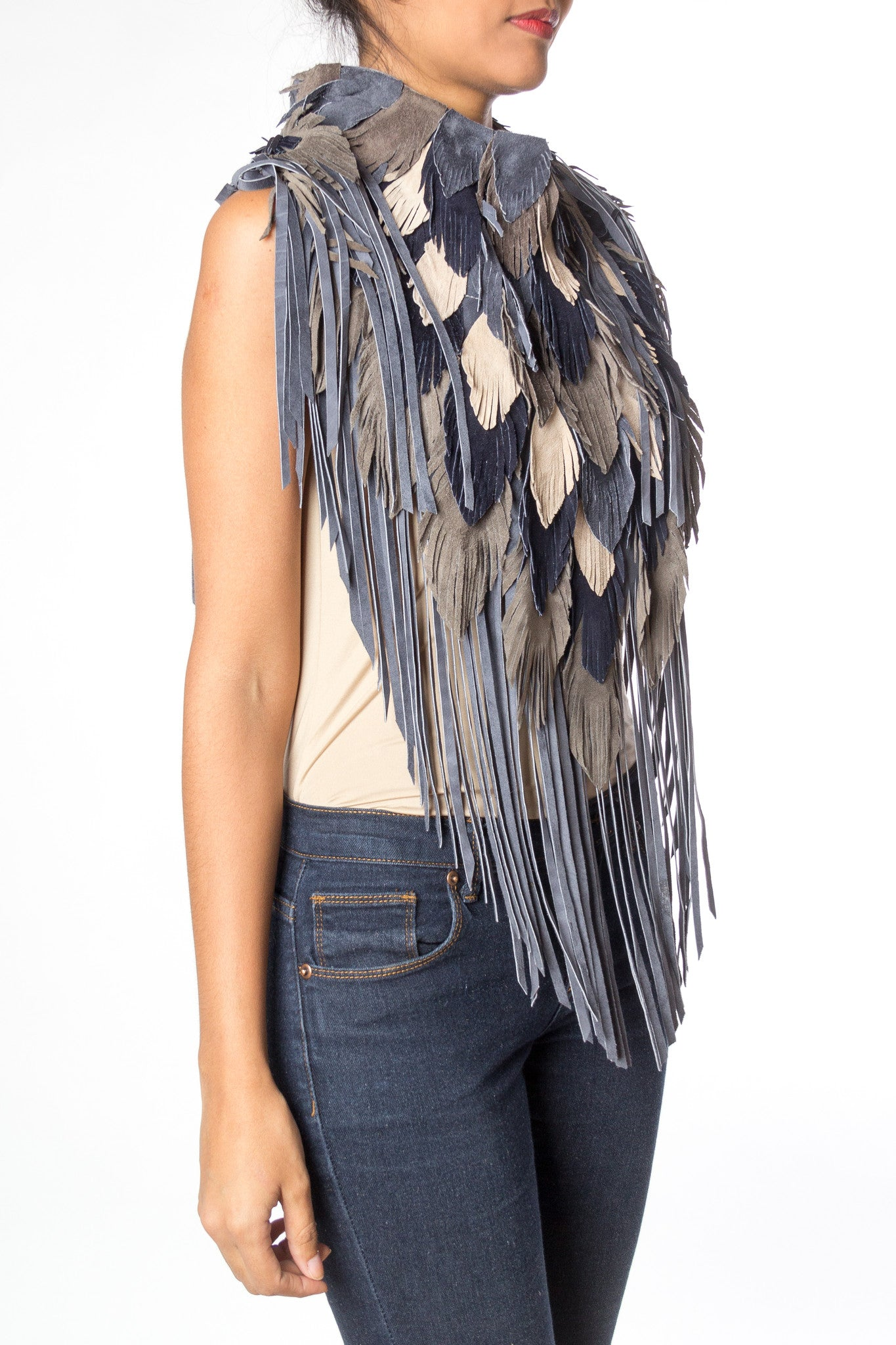 MORPHEW COLLECTION Indigo  Suede Feather Leather Cape