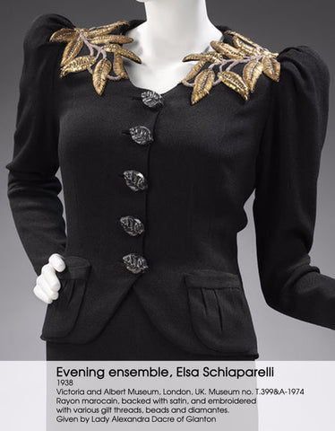 1930S  ELSA SCHIAPARELLI Black Haute Couture Silk Crepe Pagan Collection Embroidered Jacket With Large Leaf Buttons