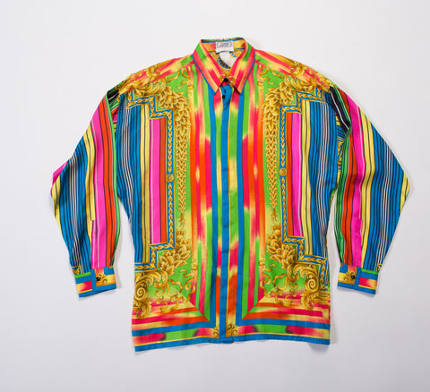 1990S  Gianni Versace Rainbow Silk Men's Baroque Print Shirt