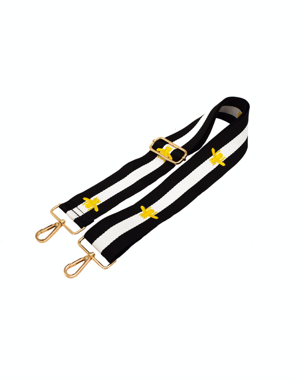 Black + Gold Bees Strap