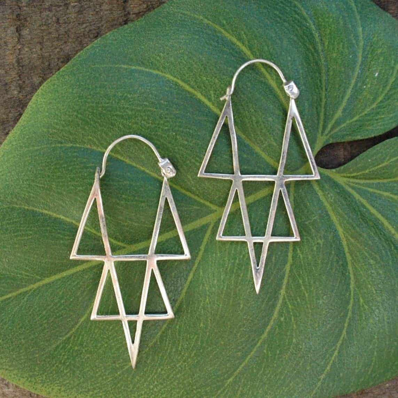 Silver Star Point Earrings